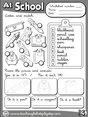 At School - Worksheet 4 (B&W version)