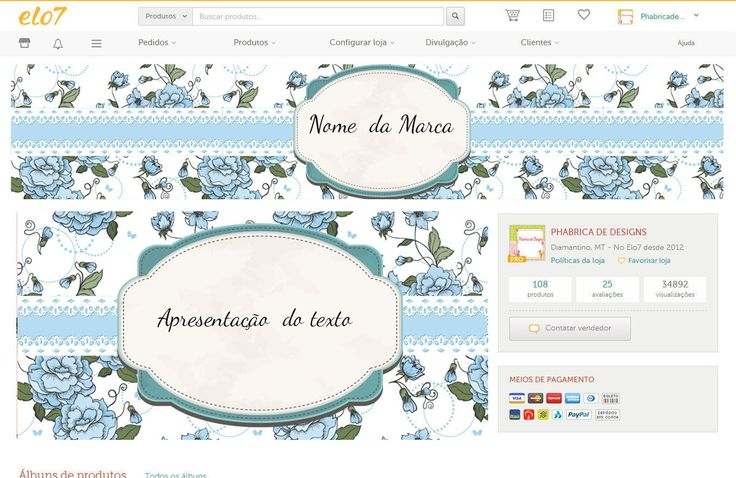 Kit elo7 <br>fachada <br>Banner <br>logo do perfil <br>Arte do cartão de visita 9x5 <br>Arte da tag 5x7 <br>arte do adesivo 6x6 <br> feito em corel em alta resolução <br>arquivos enviados por email em jpg,cdr,e pdf <br>arquivos da loja entregue editado e instalado em arquivos jpg <br>peças da loja uso exclusivi loja elo 7