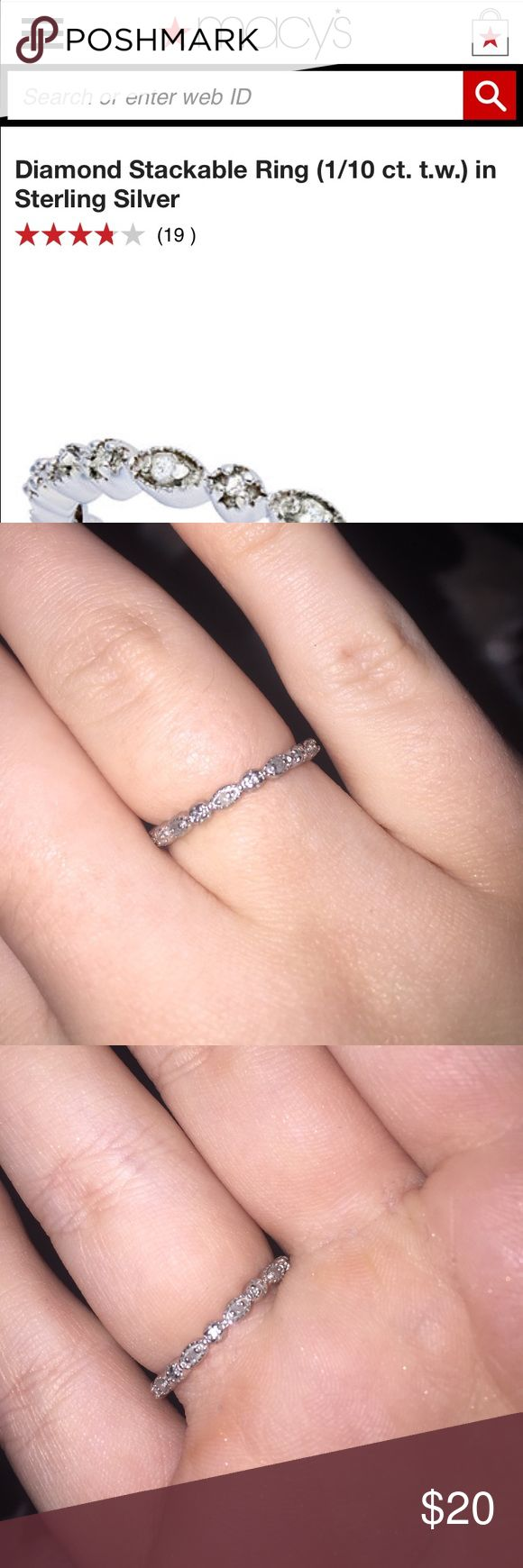 1/10 cttw Diamond Stackable Ring (ster. silver) A very pretty and dainty small diamond ring! It's made to be stacked with others! It's sterling silver! The diamonds aren't the best quality and don't shine that great, but I think a good cleaning would help this! Worn for about a month. Jewelry Rings