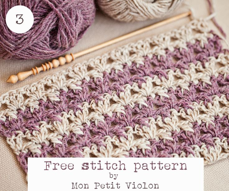 Free stitch pattern by Mon Petit Violon. • This pattern will be great for scarves, blankets, hats and clothing. You can use more than two colors as well. Pin and share it with your friends if you like it! Happy crocheting!