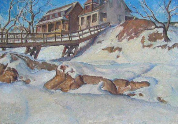 """Lionel LeMoine Fitzgerald – """"Walking Bridge, Winnipeg"""" 1920"""