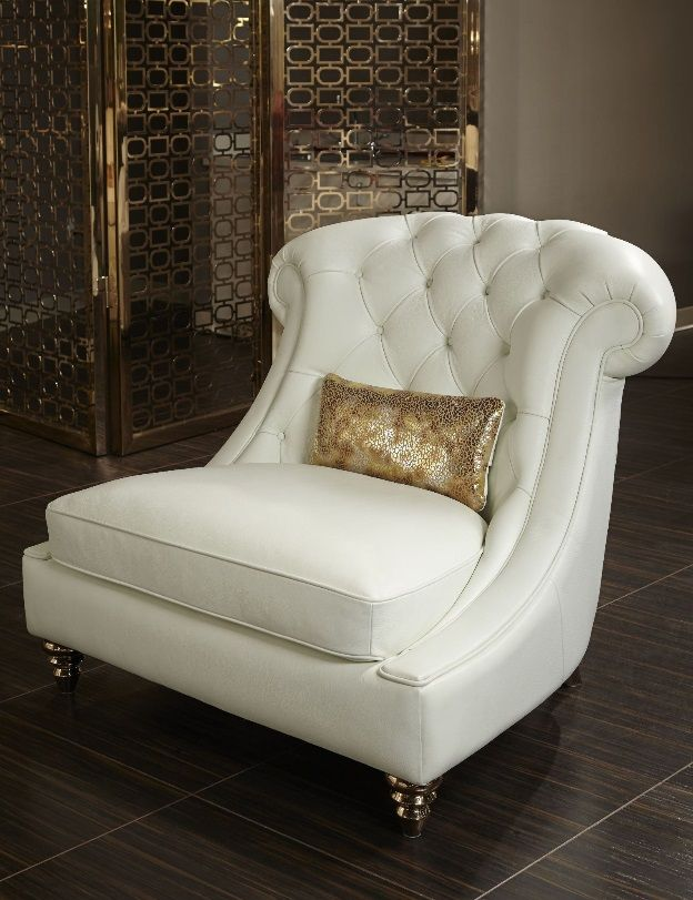 ** office? AICO Mia Bella Damario White Gold Leather Tufted Chair & a Half MB-DMRIO38-WHT-99 downstairs office