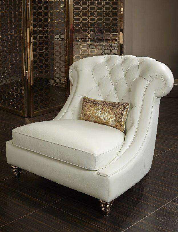 AICO Mia Bella Damario White Gold Leather Tufted Chair & a Half MB-DMRIO38-WHT-99