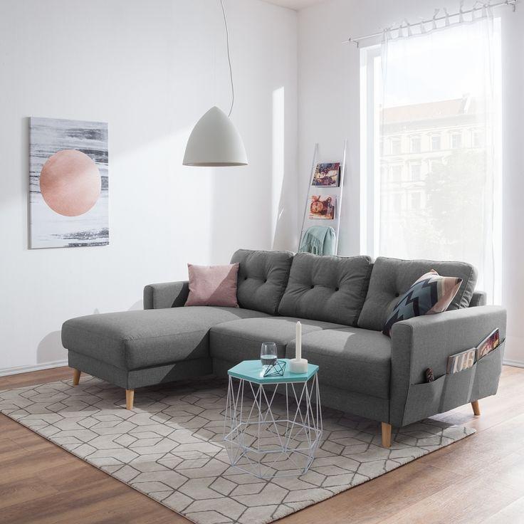 AFFILIATELINK  Ecksofa Sola Flachgewebe – Grau – Longchair davorstehend links -skandinavisch, Design, Minimalistisch, Einrichtung, Deko, schlichte, …