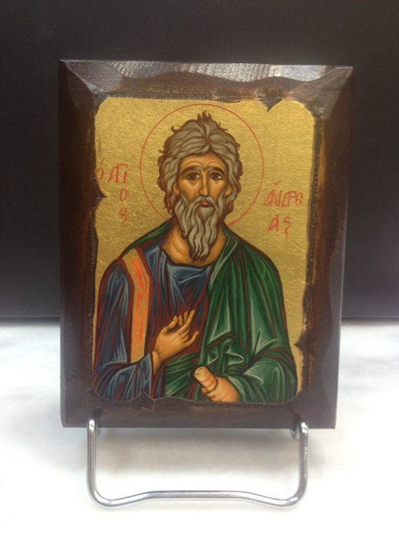 Saint Andrew - San Andrés. Hand made in Hellas-Greece. Dimensions: 4,52 x 5,90 inches / 11,5 x 15 cm