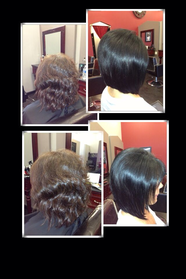 Before n after... Golden brown long layer cut to black long layered angled bob