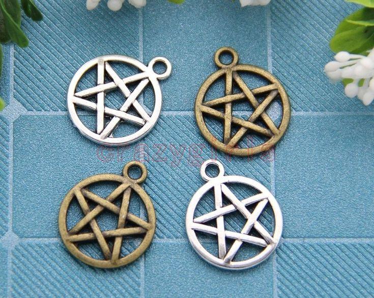 40/200pcs Antique Silver/Bronze Gothic wicca pentagram Charm Pendant 20x16mm | eBay