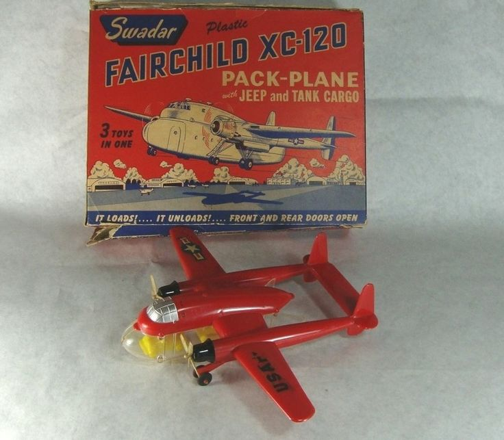 Rare 1950s Swadar Plastic Toy Fairchild XC-120 Pack Plane W/ Jeep & Tank In Box