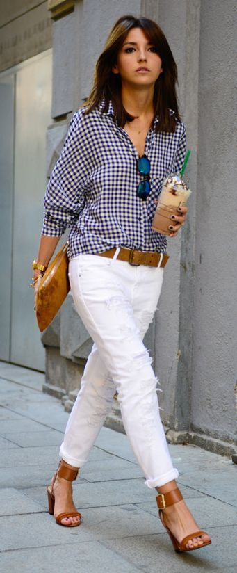 4 Spring 2015 Trends You CAN Wear! www.styleblueprint.com  Gingham shirt with white jeans - LOVE!