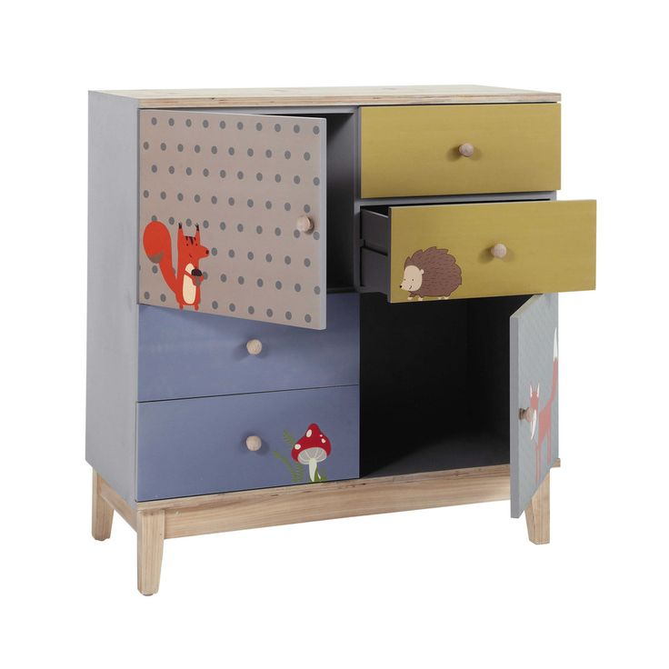 New Kinderkommode aus Holz mit Forest