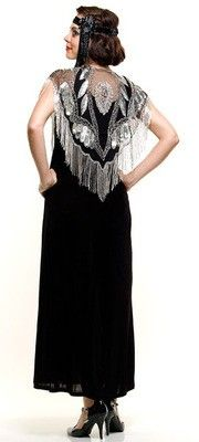 Unique Vintage # 37535    1920s Style Deco Beaded Black and Silver Capelet $78