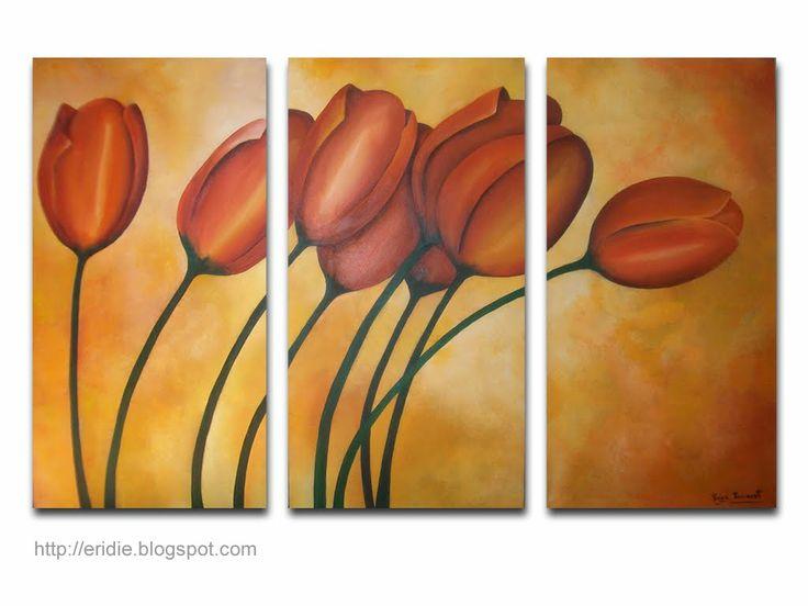 Cuadros pintados con oleo acrilico cuadro moderno flores - Cuadros pintados con spray ...