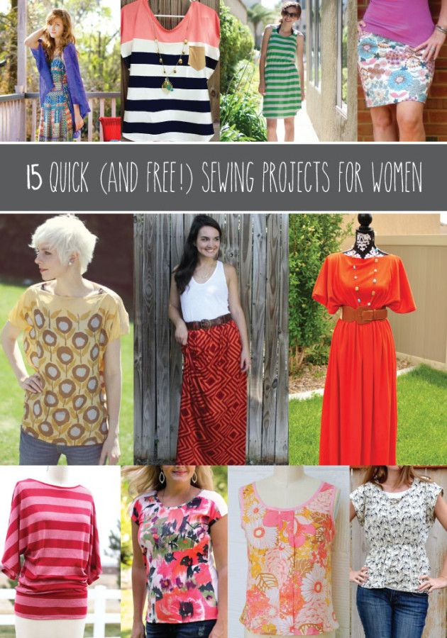 15 Quick Sewing Projects for Women. This is genius. Can't wait to try the tulle skirt for the holidays!