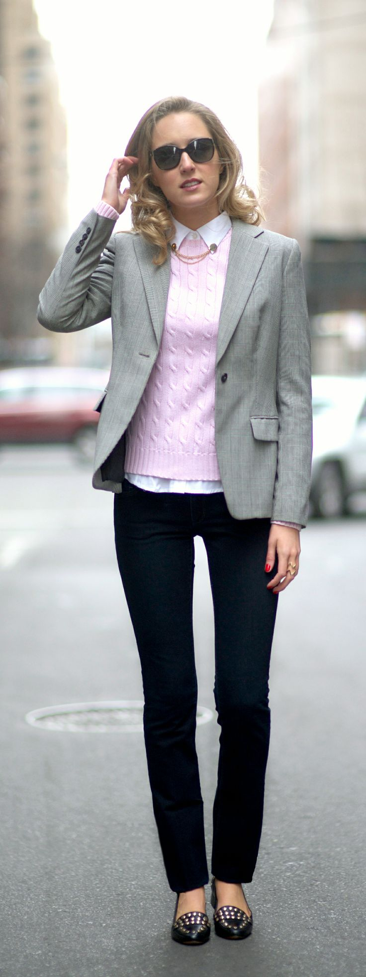 casual friday || houndstooth suit jacket, black jeans, pink cable knit sweater, collar tips, monogram ring, dvf studded loafers
