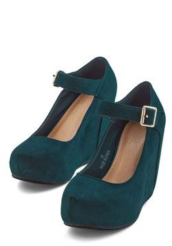 Wonder Your Spell Wedge. Tonights look is nothing short of entrancing, and these teal hidden wedges are your most captivating accessory! #blue #modcloth