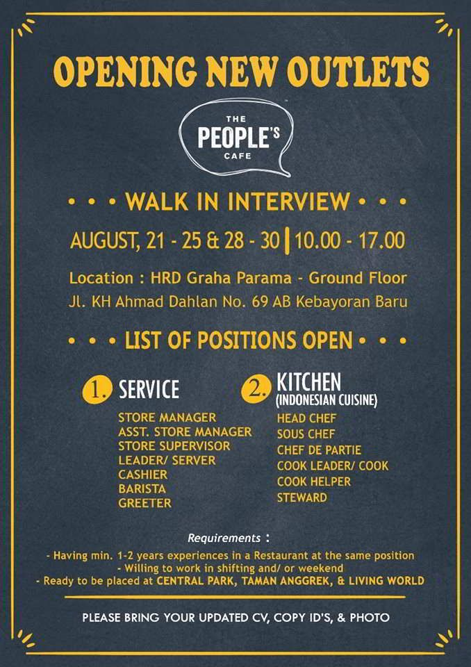 The People Cafe Jobs Opening News - Hotelier Indonesia Jobs