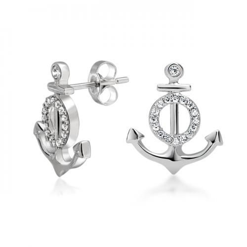 Bling Jewelry Pave CZ  Nautical Anchor Stud Earrings 925 Sterling Silver