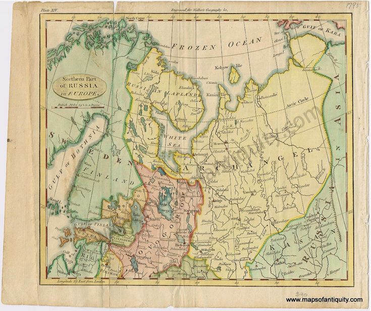 northern part of russia in europe antique maps and charts original vintage