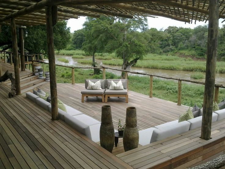 Deck created by my team designed by Janine and me, looking over the Sabie river, at Tinga lodge.