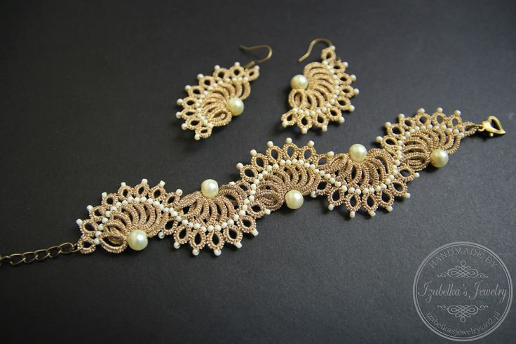 Frywolitkowy komplet biżuterii / Tatted set of jewelry