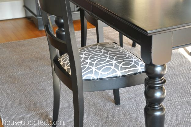 Recovering Dining Chairs (Dwell Studio Bella Porte Charcoal Fabric)