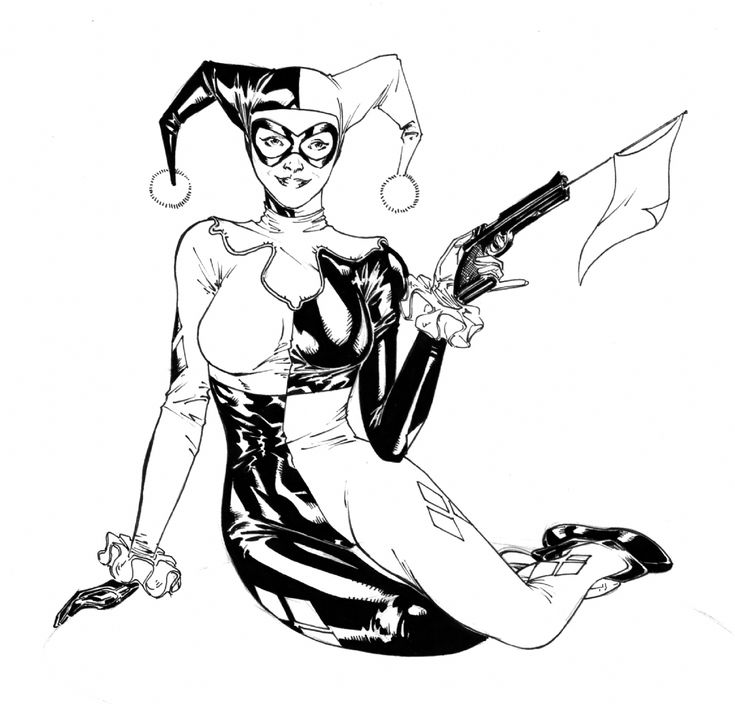 Harley Quinn Arkham Knight Coloring Pages Full Page