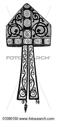 modelli, &, motivi, -, art linea, modello, per, uno, Bishop`s, mitra, (hat), 13, Century. Visualizza illustrazione ingrandita