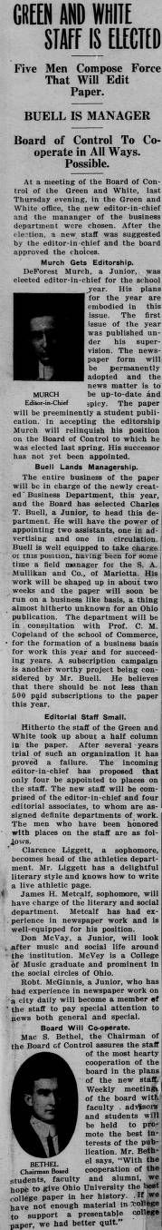 """Green and white (Athens, Ohio) September 17 1913: """"GREEN AND WHITE STAFF IS ELECTED."""" :: Ohio University Archives"""
