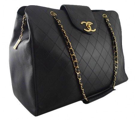 Chanel  Chanel Black Lambskin Jumbo Maxi Weekender Luggage Bag. Get in my life