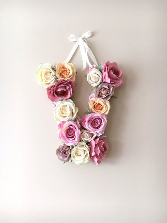 """Flower Letters, Floral Letters, Vintage wedding decor / Personalized nursery wall decor, Baby shower, 35 cm/13.8"""" wall art, Photography Prop"""