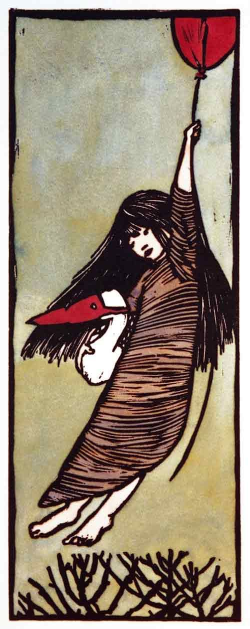 "Ilse Van Garderen, linocut, ""Girl with Balloon"" Here I go flying away with my little red balloon again."
