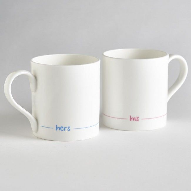 Idea for a Wedding Present - Hers and His Fine Bone China Mugs by Jin Designs