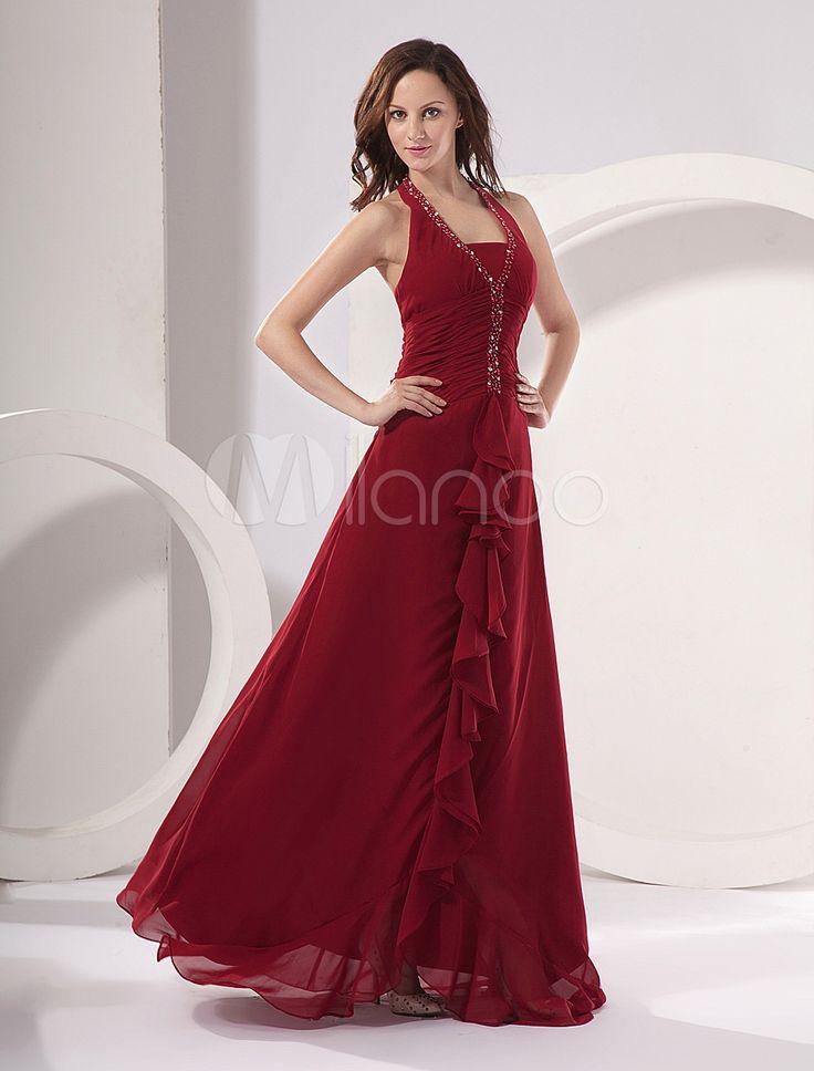 2-Piece Red Halter Wrap Chiffon Satin Mother Of Bride Dress