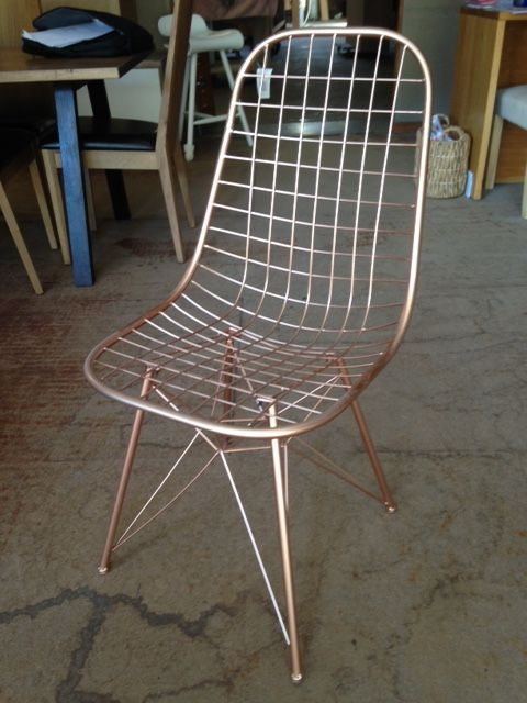 The wire copper dining chair for sale at Wildflower Furniture