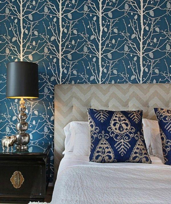 Baume Muster Blau Weiss Tapeten Schlafzimmer Wandgestaltung Pinterest