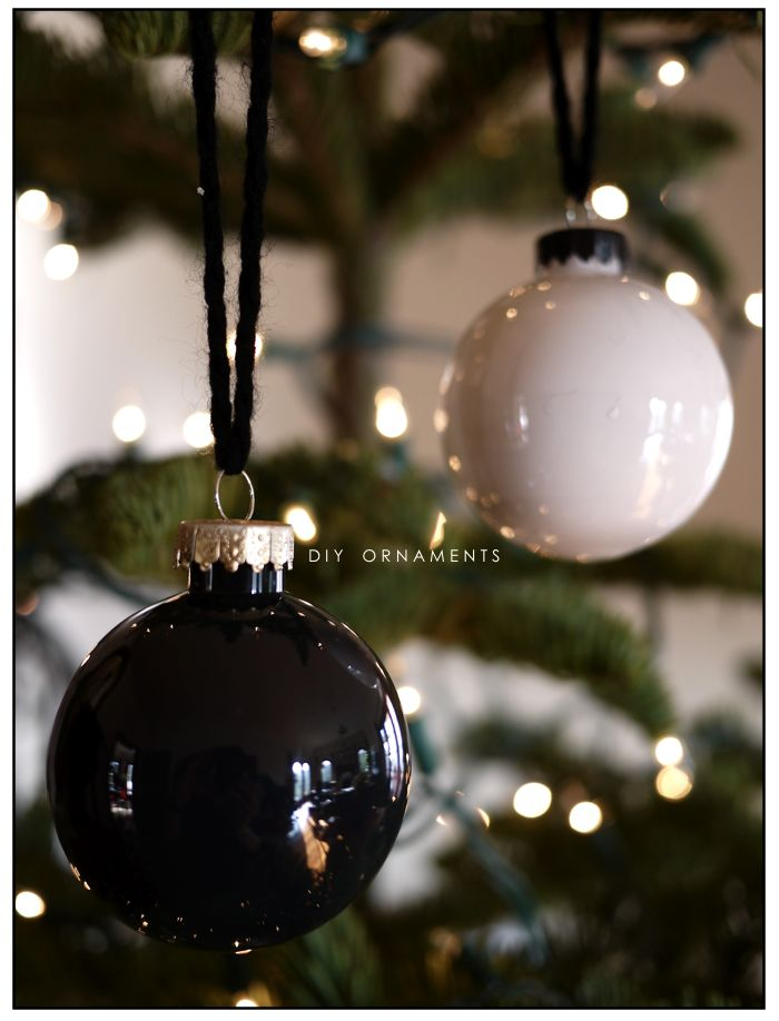 DIY ornaments in black, white and gold via inspirationCOOPERATIVE