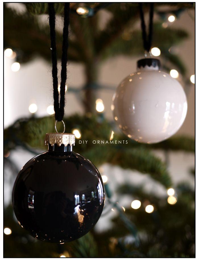 DIY ornaments in black, white and gold via inspirationCOOPERATIVE
