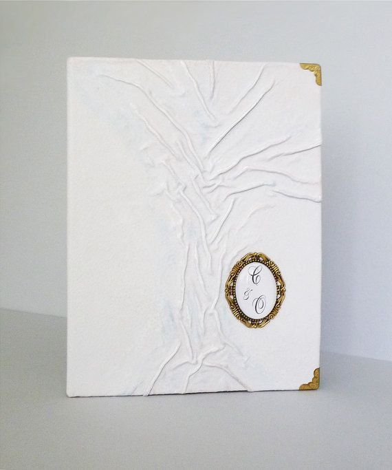 Personalized Wedding Photo Album White Leather Album by AnnaKisArt