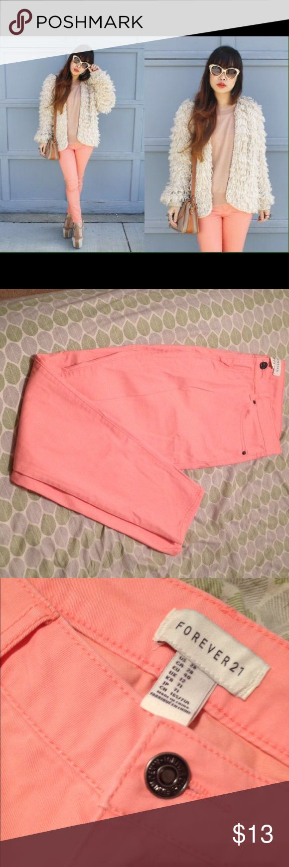 Forever 21 Peach Pants Hardly worn and in good condition, light peach pants! Feminine and great pop of color with any outfit! Forever 21 Pants