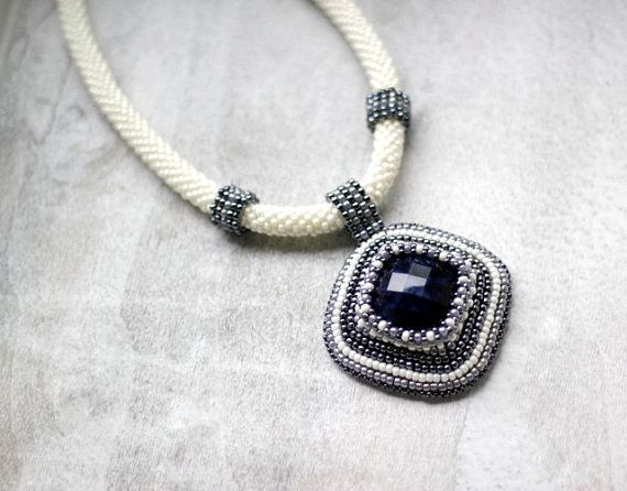 Edwardian Bead Embroidered Necklace Navy Blue by HeriniaJewelry
