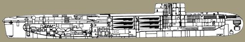 """Image of project 664. The design for Project 664 combined the characteristics of a """"submarine LST"""" with a replenishment submarine - and it would have nuclear propulsion. This large submarine would carry 20 cruise missiles or 80 21-inch torpedoes, or 160 15.75-inch torpedoes for transfer to combat submarines. Liquid cargo would include 1,000 tons of diesel oil or aviation fuel, plus 60 tons of lubricating oil, 75 tons of potable water, and 31 tons of food. In the LST role, the submarine would…"""