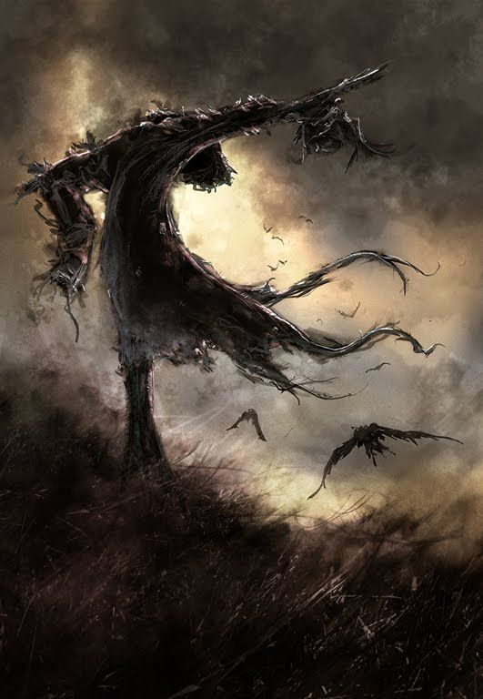 Halloween, All Hallows Eve, Trick or Treat, Witch, Goblin, Ghost, Black Cat, Bat, Skull, Ghouls, Scarecrow, Grim Reaper, Jack-O-Lantern, Pumpkin, Spooky, Scary, Haunting, Creepy, Frightening, Full Moon, Autumn, Fall, Magic Potion, Spells, Magic, Haunted - Dead Wringer by Arnaud de Vallois