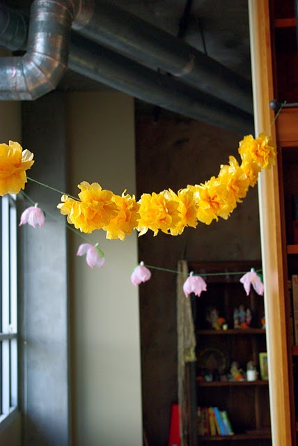 crepe-paper flower garlands. DIWALI decor DIY.