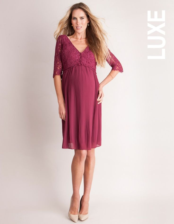 A jewel-like berry shade and elegant corded lace lend a touch of luxury to the Berry Pleated Maternity & Nursing Dress, while concealed nursing access make it a new mum's dream. The feminine lace bodice meets in a stylish scalloped V at the front, and is delicately buttoned to conceal discreet pull-down access for nursing. A woven pleated skirt drapes beautifully from the empire waist, creating a soft A-line silhouette that's perfect before, during and after pregnancy. Just add heels and a…