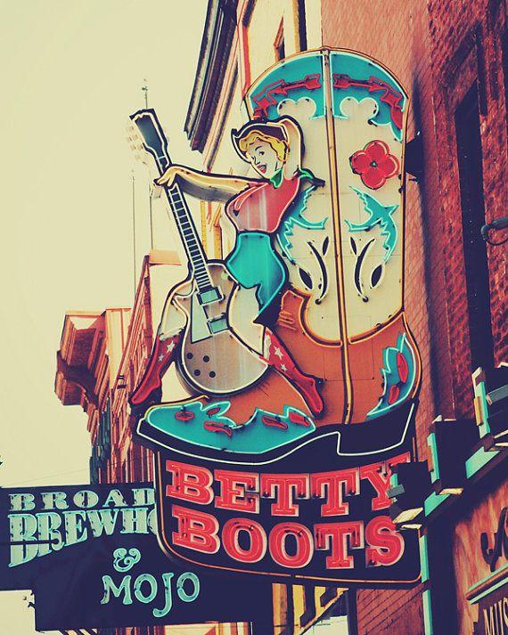 Nashville art rockabilly art Betty Boots sign photograph red aqua blue wall art country wall decor