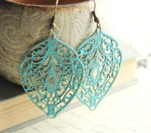 Blue Patina Earring Filigree Earrings Aqua