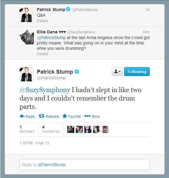 Patrick Stump replying to me on Twitter again :)