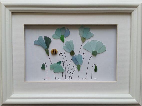 Sea Glass Art Cornflowers by CornishPebbleArt on Etsy