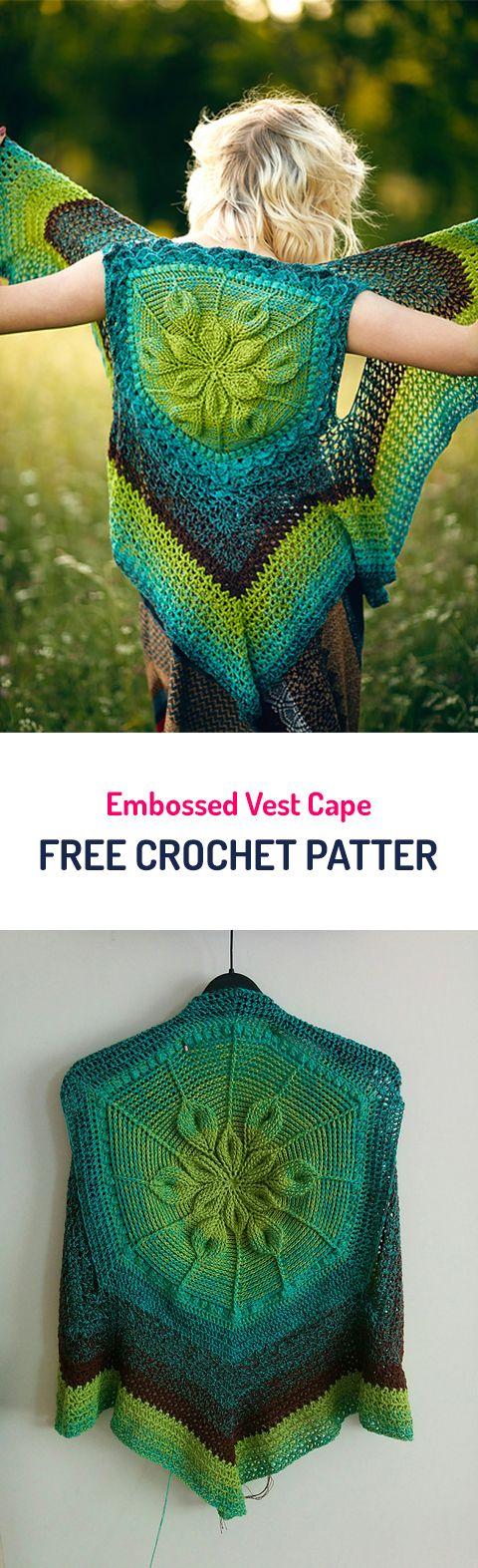 Embossed Vest Cape Free Crochet Pattern