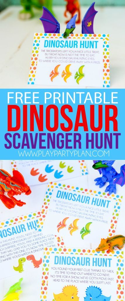 This free printable dinosaur hunt is perfect for a dinosaur birthday theme, a dinosaur party, or just to play with boys who love dinosaurs! Definitely one of the best dinosaur games or activities I've seen, and I know my son would love these ideas! Pair i